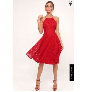 Lulus Size XL Red Lace Dress. Never been worn